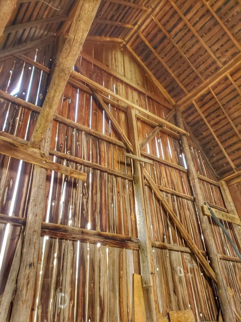 A photo of a barn interior