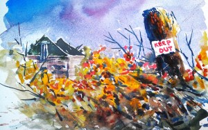"""Watercolor of a collapsed house and a """"Keep Out"""" Sign"""