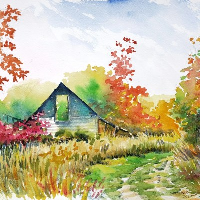"""A watercolor painting titled """"Wrecked House with a Missing Roof"""""""