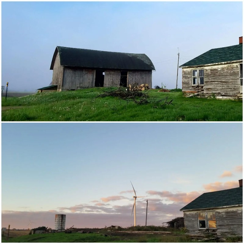 Barn and Wind turbines: A before and after shot