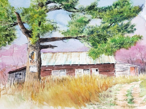 """A watercolor painting titled """"White Pine Framing a Barn"""""""