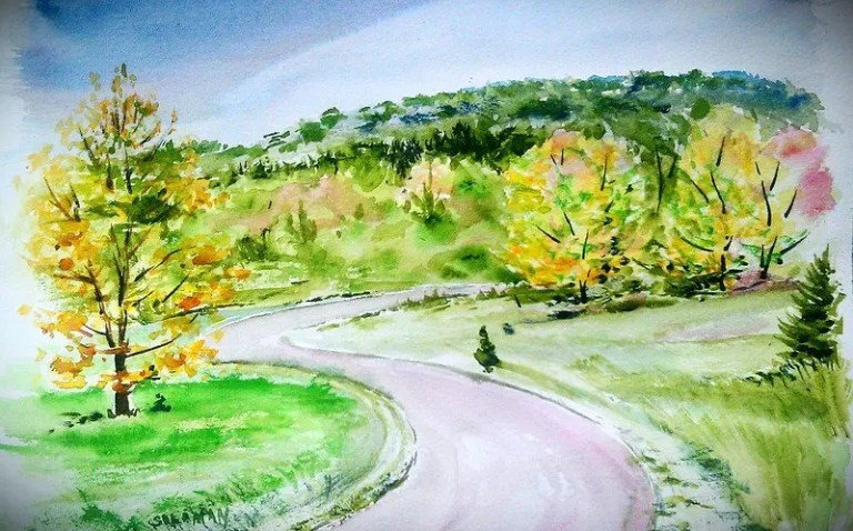a painting of the Saugatuck Dunes State Park Entrance