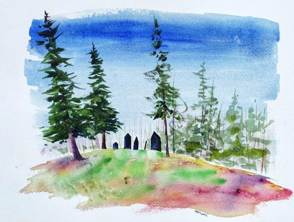 A watercolor titled No Longer Forgotten-Skanee Slate Cemetery