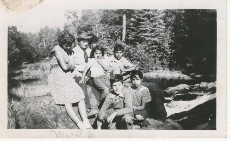 An old black and white photo of Past Generations at the Silver River Falls