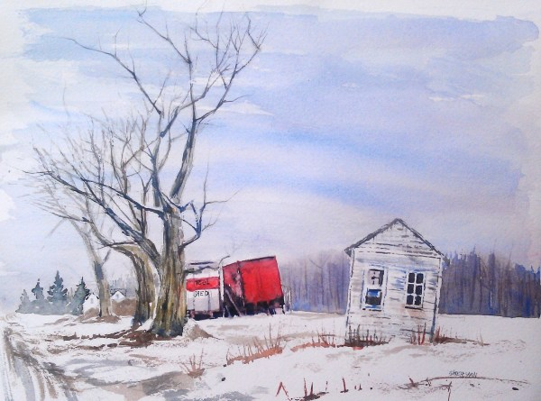 watercolor of a small house and mobile tool shed in a farmer field