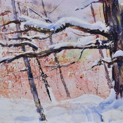 A watercolor painting depicting a portion of Deerfield Park Skiing Trail