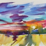 Sunset Colors Flowing Into Evening is a watercolor depicting loose bold colors