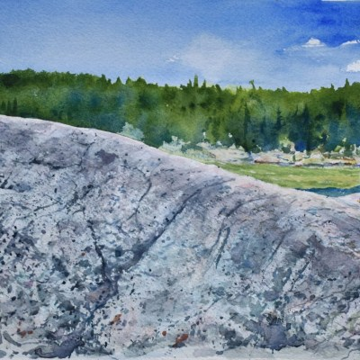 A watercolor painting of Wetmore Pond and a outcrop of bedrock