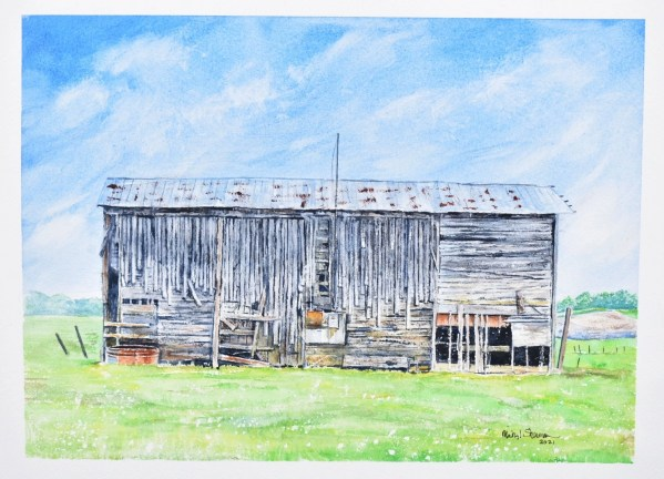 """A photo of a painting of a barn titled """"Barn with Character"""""""