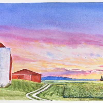 A watercolor painting of a Beautiful Farm and spectacular sunset over Isabella County farm fields