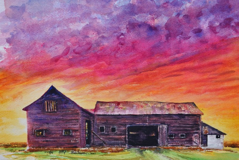 A watercolor of a purple sunrise and barn