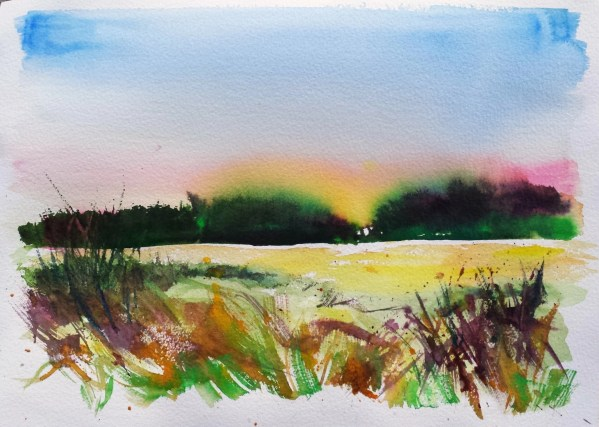 A watercolor painting titled Dry on Wet Sunset which is the technique