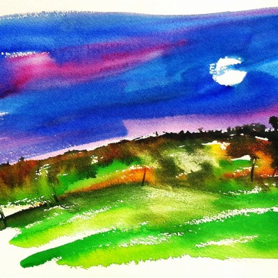 A watercolor color painting with a title that describes how it was created-Painting by Moonlight Feels Right