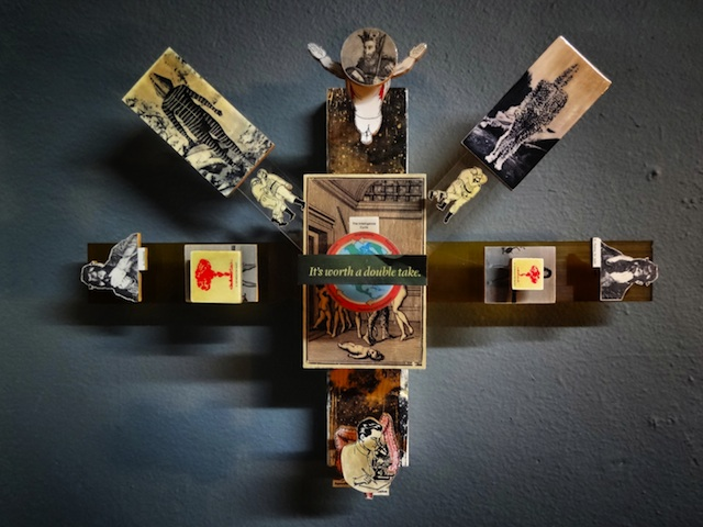 """Artist: Stephen Anderson City: Santa Ana, CA Title: It's Worth a Double Take Medium: Collage on Hand Cut Wood, Plastic Size: 24"""" x 17"""" x 7"""""""
