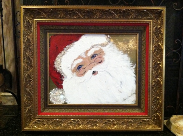 Natalie Sarabella - Miami, FL Title: Jolly Santa Medium: Acrylic, crytals, Cultura Pearls Size: 24 x 36 aprox.