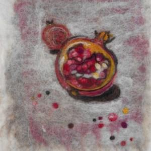 "Hristi Wilbur - Glendale, AZ Title: Pomegranate Medium: textile Size: 9""x 11"""