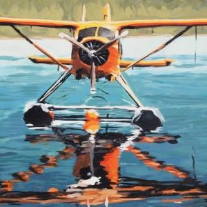 "Title: The Flying Beaver Medium: Acrylic on Canvas Size: 30 "" x 40"""