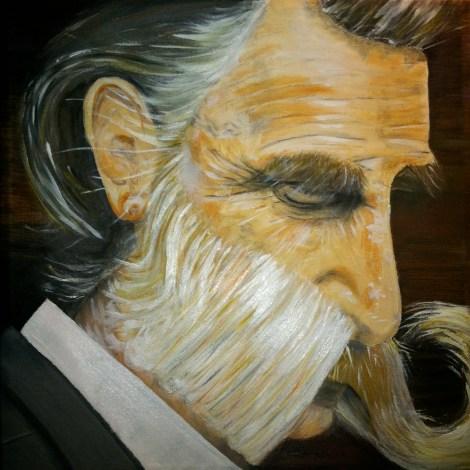 """Title""""Moustache man""""   MediumOil painting   Size18'x 24'"""
