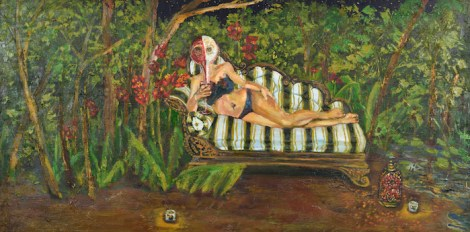 """TitleThe Couch   Mediumoil on wood   Size48"""" x 24"""""""