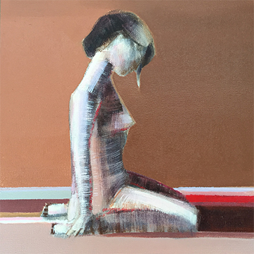 Artist Shilo Ratner, Quiet Reflection, 8inx8in, oil on panel