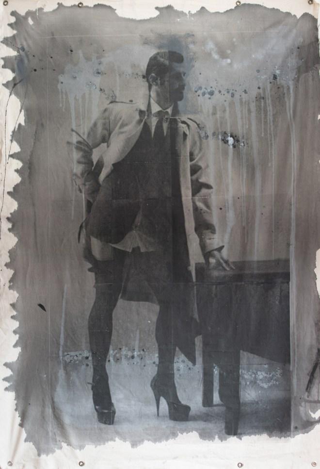 Title Transvestite   Medium serigraph and acrylic ink on canvas   Size 6' x 4'