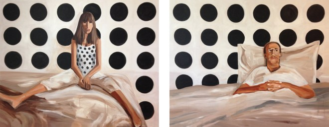 """Title Scene in White, Black + Brown   Medium Acrylic on canvas   Size 48""""x123"""" diptych"""