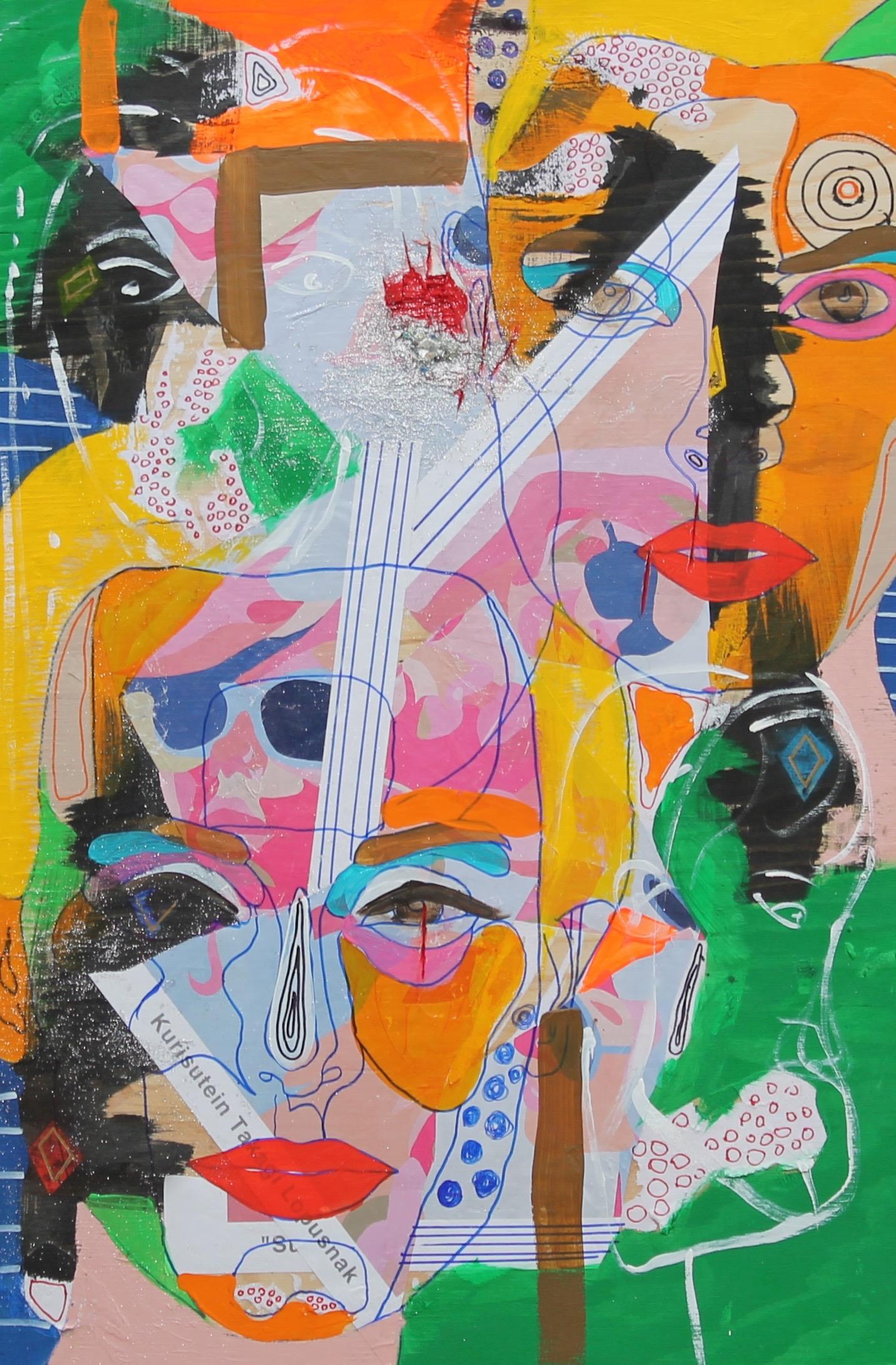 Title: Listen to Sugar Medium: Acrylic, gouache, ink, marker, paper, rhinestones, glitter Size: 24x36