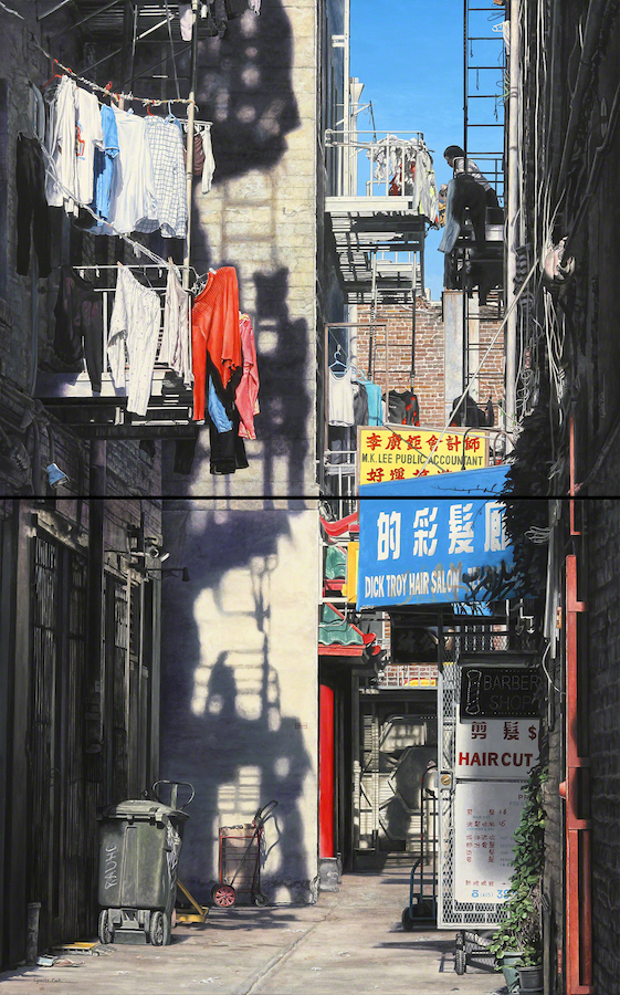 "Title:Chinatown-Donaldina Cameron Alley Medium:	Acrylic on Canvas Size:	48"" x 30"" (Diptych)"