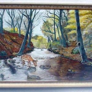 Title: The fawn at morn Medium: Oil on canvas Size: 3ft x 2ft