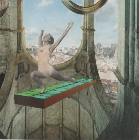 Title:	Myth-building: Launch/Lunge Medium:	collage Size:	16x16cm