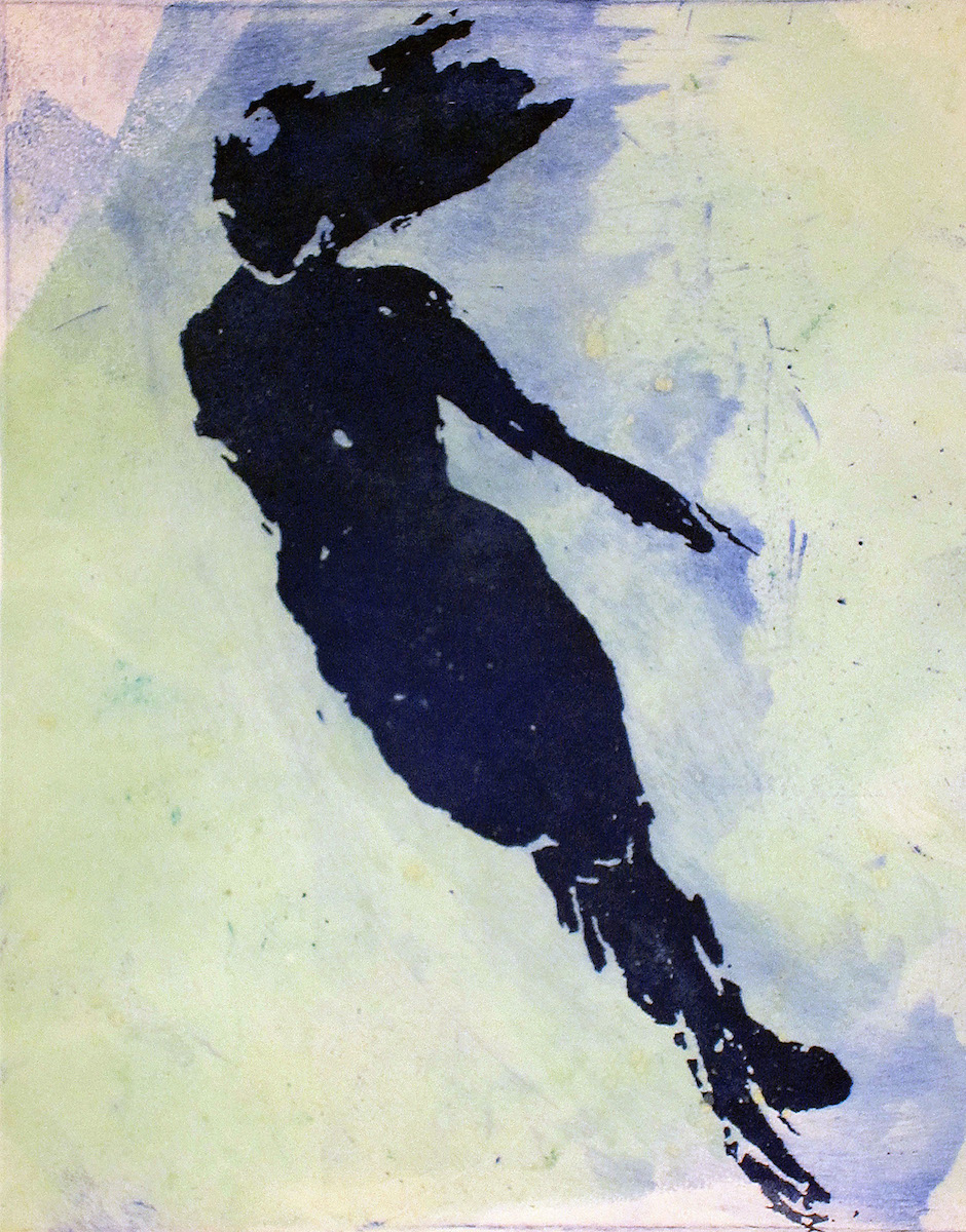 Title: Swimmer Medium: sugar lift, acquaint, and mono print Size: 13 x 8 inches