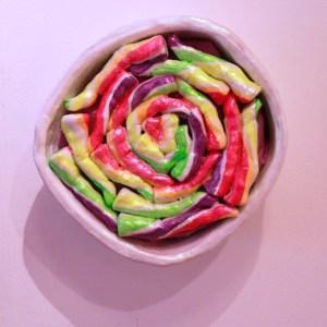 Title: Lollipop Medium: Acrylic on Ceramic and Sound Size: 9x9x5