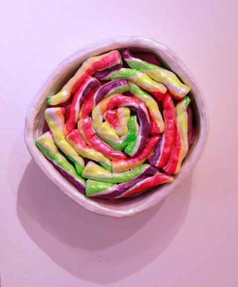 Title:Lollipop Medium:Acrylic on Ceramic and Sound Size:9x9x5