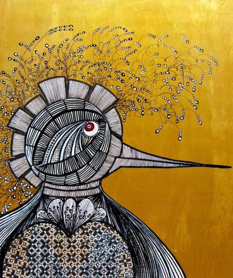 "Title:Magic Bird 2 Medium:Drawing & painting on wood panel Size:11"" x 14"""