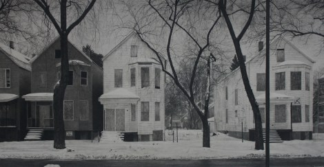 "Title:What was Once a Home (South Laflin Street) Medium:	Carbon pencil on toned paper Size:	20"" x 39"""