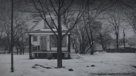 """Title:What was Once a Home (South Winchester Avenue) Medium:Carbon pencil on toned paper Size:11"""" x 19.5"""""""