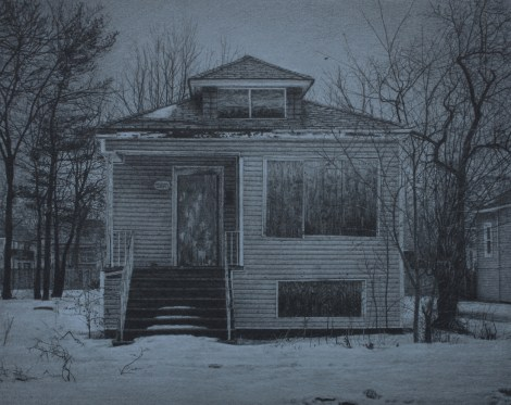 """Title:What was Once a Home (West 70th Place) Medium:Carbon pencil on toned paper Size:8"""" x 10"""""""