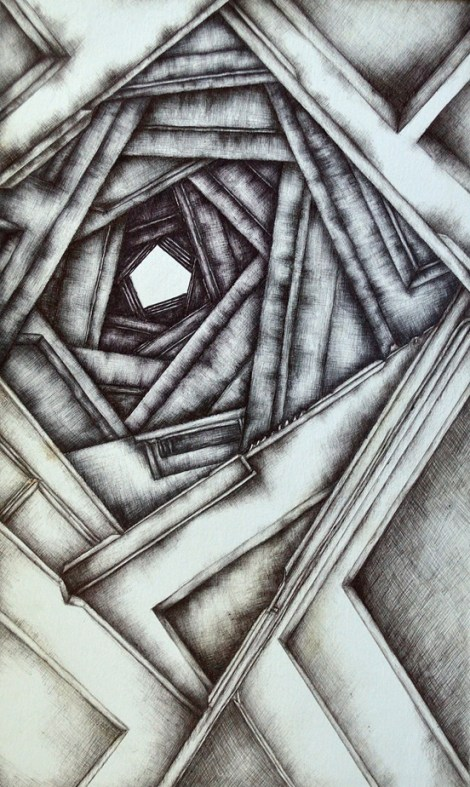 Title:Doorways Medium:	Ballpoint pen Size:	9x15