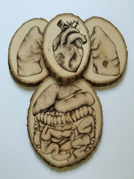 Title:Sickness Medium:	Wood burning on Birch Size:	15x20