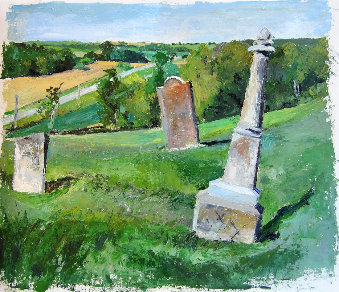 "Title: Hall Cemetery, 5-Oct-15 Medium: Oil Size: 19.5""x22.5"""