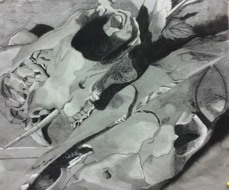 Title:The Empress Medium:charcoal and white conte Size:9x12