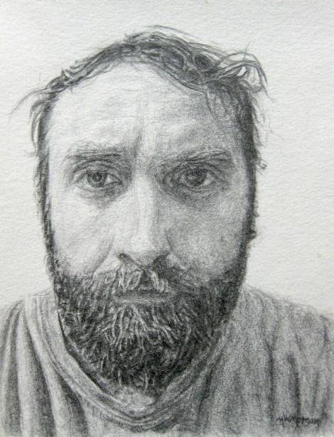 "Title:Self-Portrait, 2014 Medium:pencil Size:4"" x 3"""