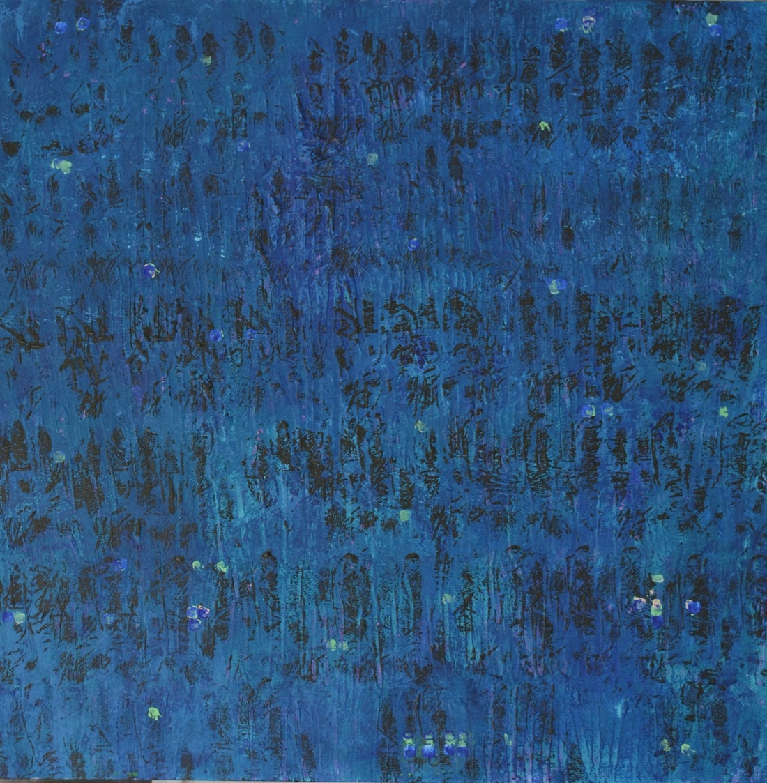 "Title: Black Over Blue Medium: Acrylic Size: 24"" x 24"""