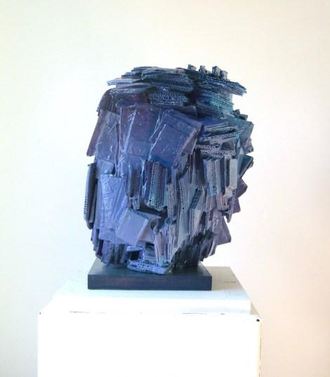 Title:Blue Medium:sculpture, corrugated cardboard,oil paint Size:15x12x12