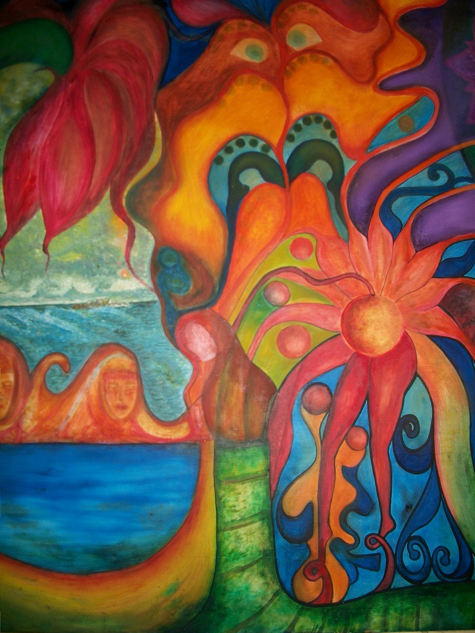 "Title: Spiritual scape Medium: Oil on wood Size: 48""X48"""