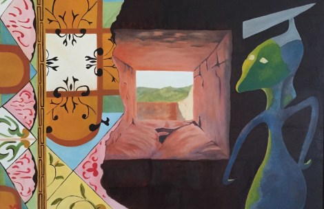 """Title:From the Window of My Castle I see the world Differently Medium:Oil on Canvas Size:24""""x30"""""""