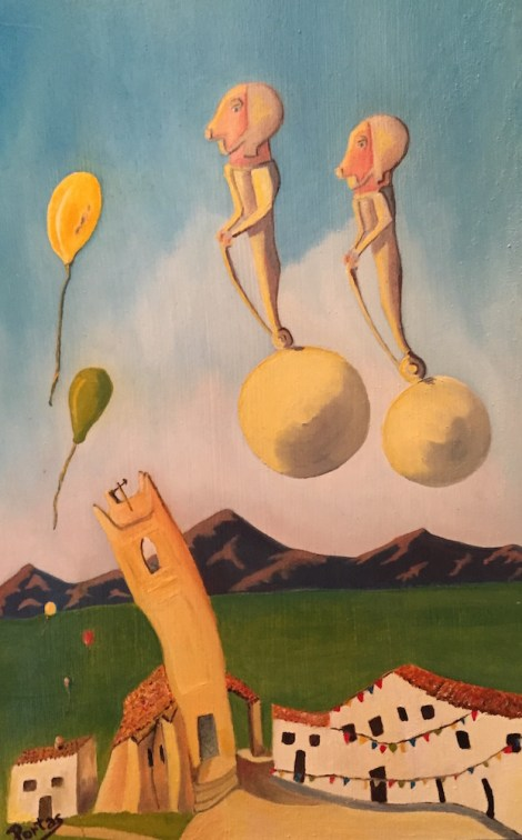 """Title:The Guardians of the Artist Soul Medium:Oil on Wood Size:9""""x11'"""