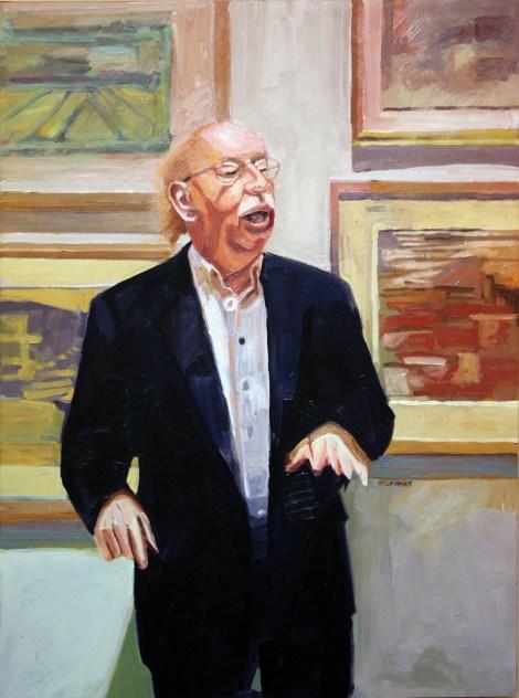 "Title:The Curator Medium:Oil on Board Size:48"" x36"""