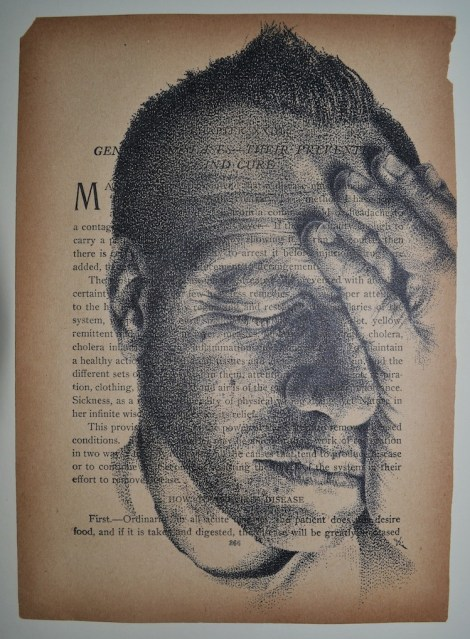 """Title:frustrate(d) Medium:Ink on Found Book Page Size:6 x 9"""""""