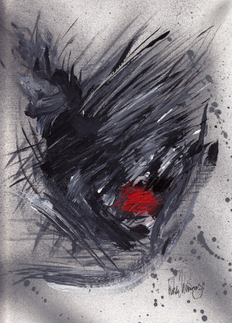 """Title:Memory of a kiss Medium:Acrylic and Spray Paint Size:9"""" x 12"""""""